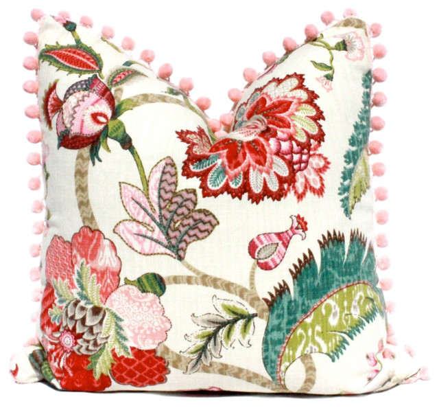 Jacobean Flower Pillow Embellished With Pink Pom Pom Trim.
