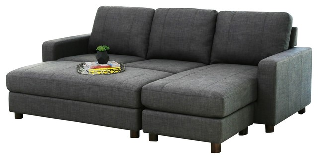 2-Piece Stanford Velvet Reversible Sectional And Ottoman Set, Charcoal.