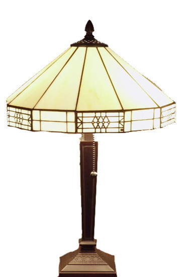 Tiffany Style Mission Style White Table Lamp Craftsman Table Lamps