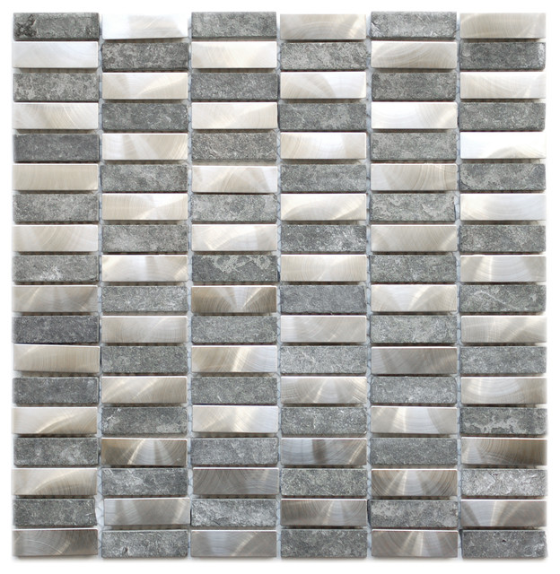 Stainless Steel Bricks And Gray Basalt Stone 11 8 X12 Single Sheet Contemporary
