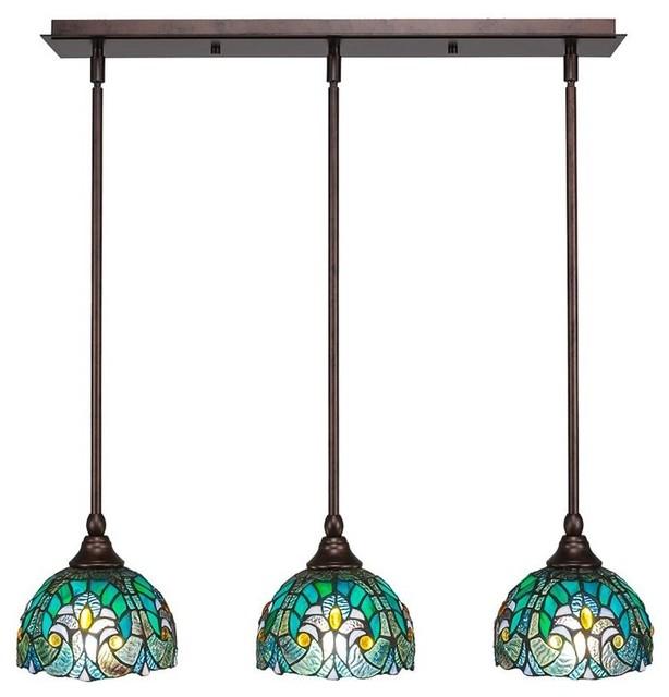 Any Three Light Mini Pendant Bronze Turquoise Cypress Tiffany Gl