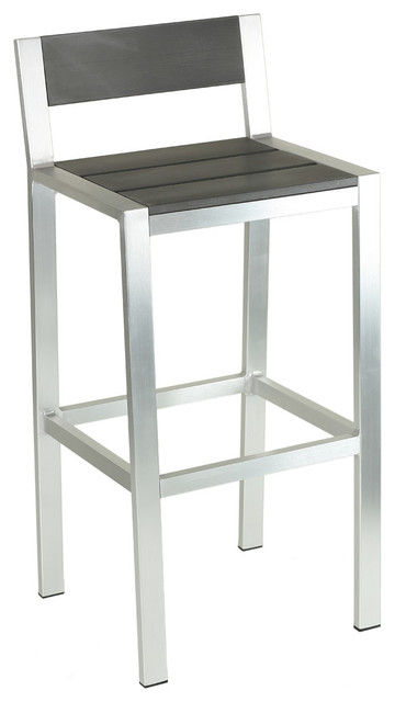haven aluminum outdoor barstool slate gray poly wood brushed nickel