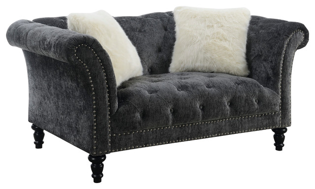 Groovy Emerald Home Hutton Ii Tufted Loveseat Charcoal Gray Theyellowbook Wood Chair Design Ideas Theyellowbookinfo