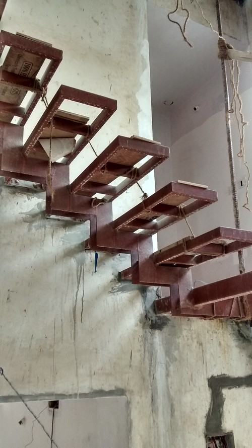 Wooden Stairs On Metal Frame