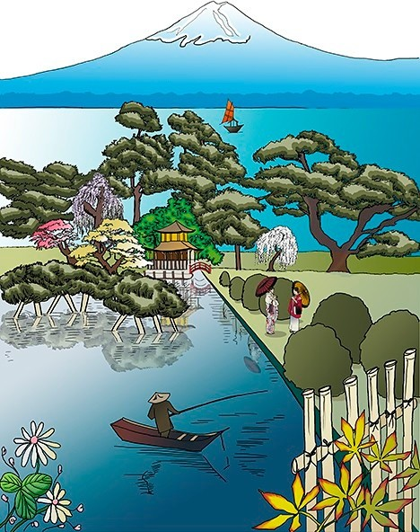 Japan scenoiserie mural view in your room houzz for Asian mural wallpaper