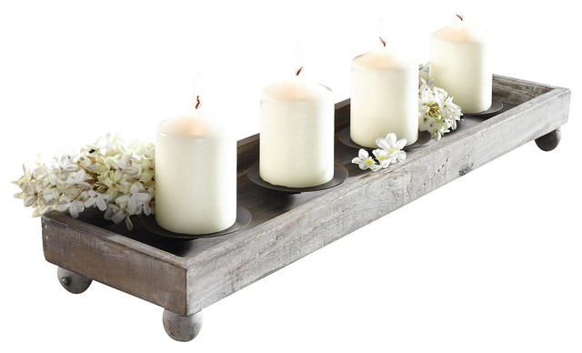 Antique-Style Wood Tray With 4 Metal Candleholders.