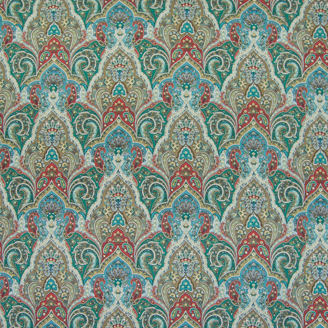 Cyprus Medallion Paisley Scroll Print Linen Upholstery Fabric Contemporary