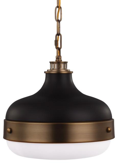 Feiss 2-Light Pendant, Dark Brass / Matte Black