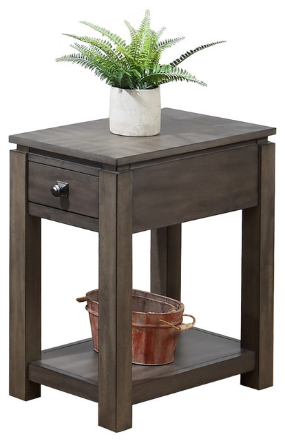 Narrow End Table with-Drawer and Shelf in Gray - Transitional ...