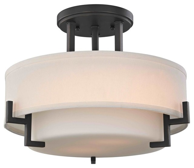 Modern Ceiling Light With White Glass, Bronze Finish.