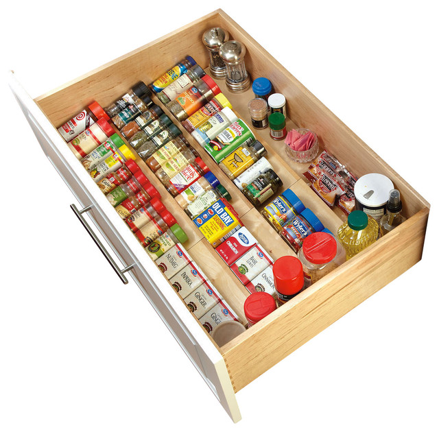 Kitchen Cabinet Spice Rack Organizer: Rev-A-Shelf Wood Spice Drawer Insert, Natural