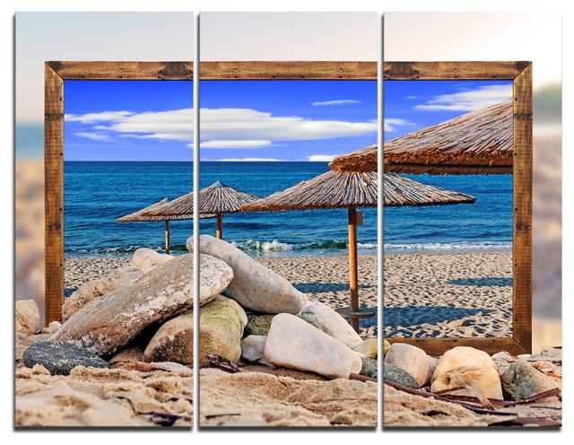 "Beachcrest Home Gotha 3 Light Vanity Light Reviews: ""Framed Beach Umbrellas"" Art Canvas Print, 3 Panels, 36"