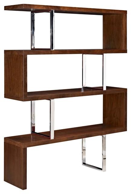 Modern Contemporary Urban Bookcase Bookshelf Shelf Rack Stand Brown Wood Metal