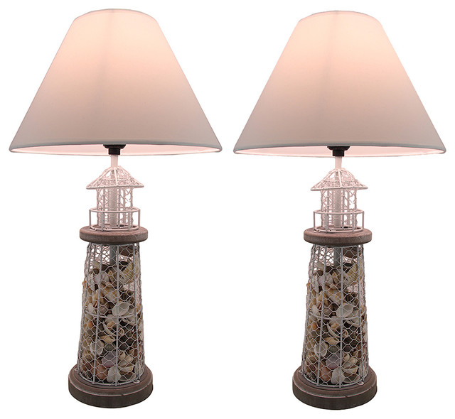 Seashell Filled Metal Mesh Lighthouse Lamps, Set Of 2.
