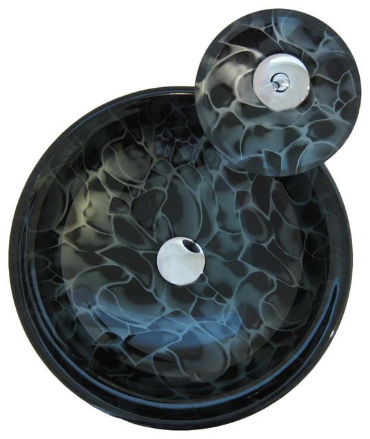 Tartaruga Round Glass Vessel Sink Set, Chrome