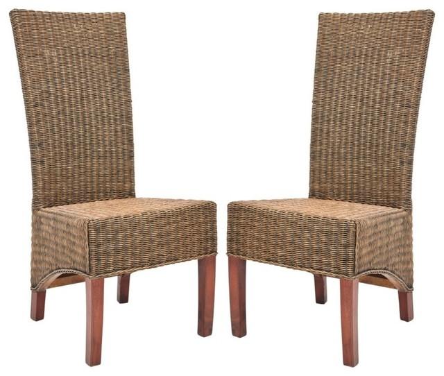 Safavieh FOX6000-SET2 Siesta 18.5 Inch Wide Rattan Accent Chairs (Set of 2) by Safavieh