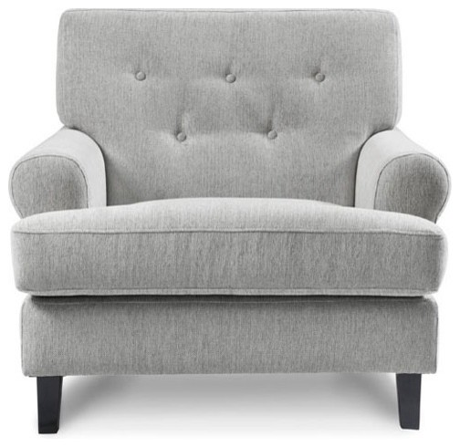 Merveilleux Hathaway Armchair In Grey Tweed, Light Grey