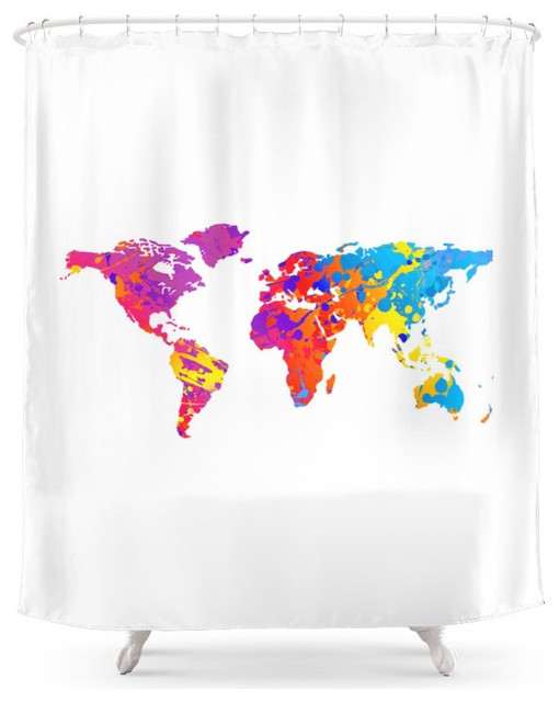 Rainbow World Map Shower Curtain Contemporary Shower Curtains