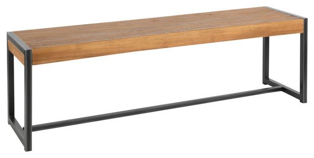 Lumisource Java Bench, Antique Metal and Teak Wood