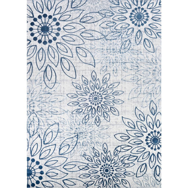Summer Bliss Area Rug Steel Blue Ivory Rectangle 9 2 X12 5 Contemporary Area Rugs By Bisonoffice