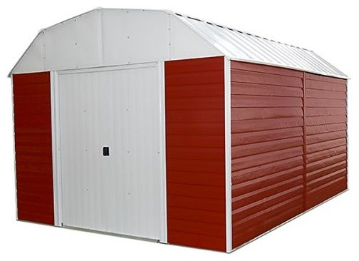 Red Barn 10&x27;x14&x27; Storage Shed, Red, Eggshell And Gambrel Gable.