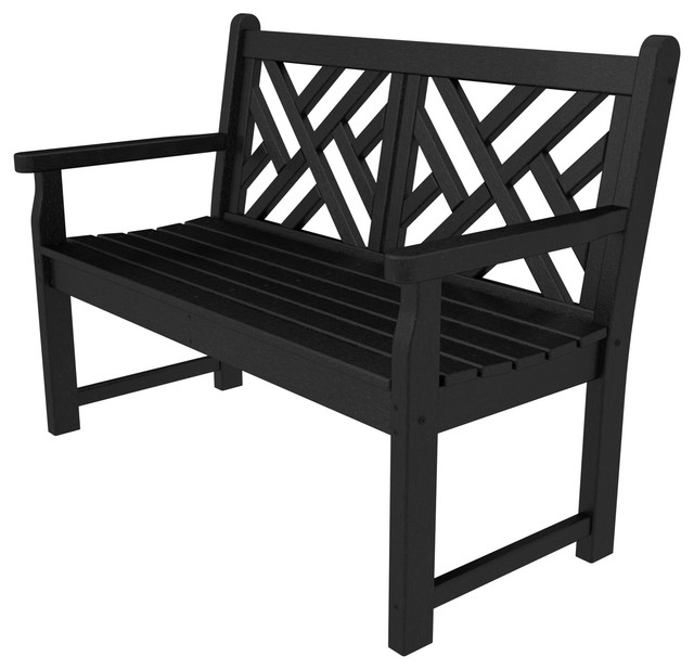 Polywood Chippendale 48 Bench, Black.