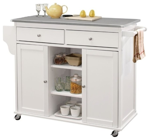Bowery Hill Stainless Steel Top Mobile Kitchen Island, White