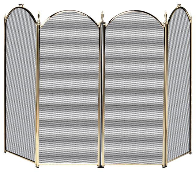 4 Fold Polished Brass  Screen.