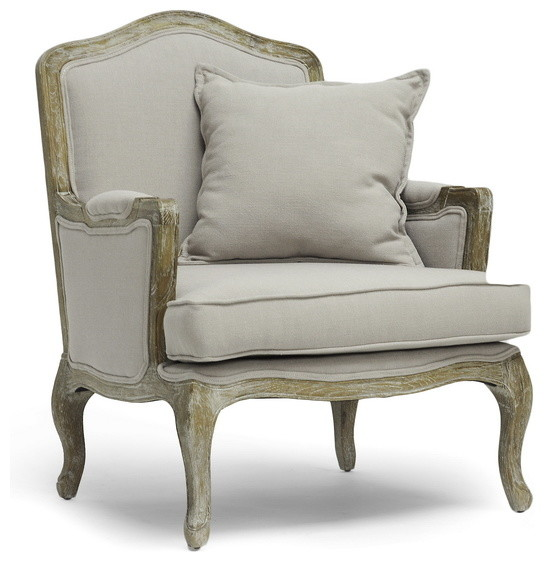 Bon Baxton Studio Constanza Classic Antiqued French Accent Chair