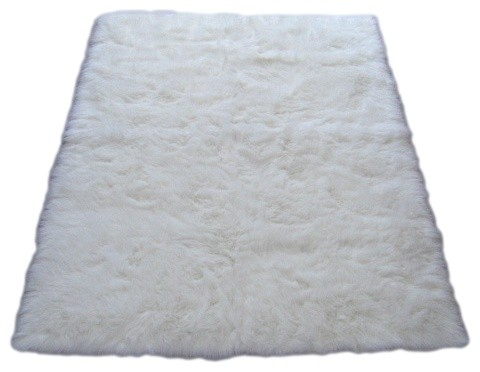 Snowy White Polar Bear Rectangle White Sheepskin Faux Fur