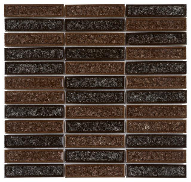Natural Brown Crackle Pattern Glass Mosaic Tile Sample: Brown Crackle Glass Mosaic Tile Stacked Pattern Backsplash