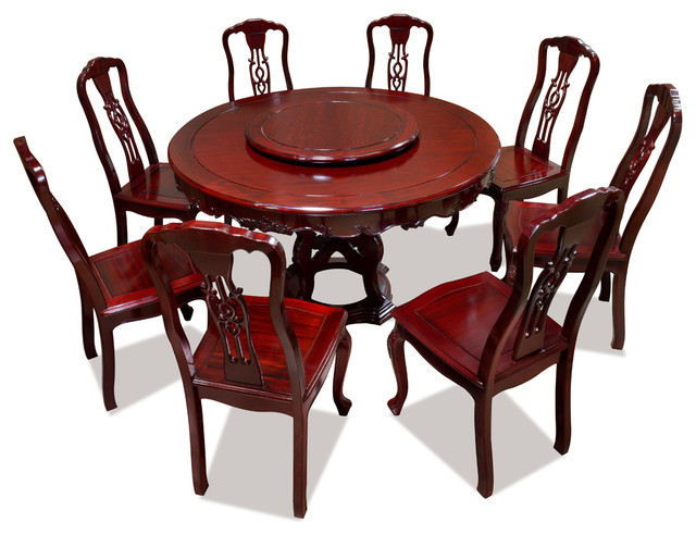 54 Rosewood Round Dining Table Set With 8 Chairs And Lazy Susan