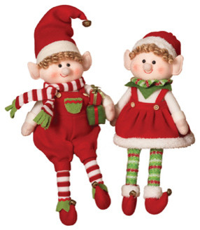 Plush Elf Figurine Shelf Sitters, Set Of 2.