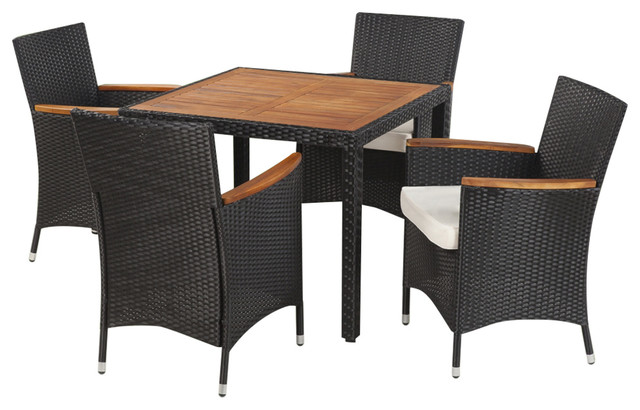 Surprising Vidaxl Acacia Wood Outdoor Dining Set 5 Pieces Poly Rattan Wicker Table Chair Short Links Chair Design For Home Short Linksinfo