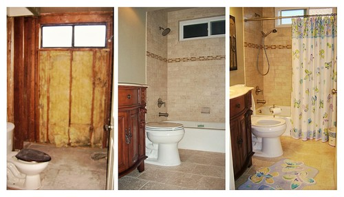 We love using travertine tiles for bathroom floor and walls.