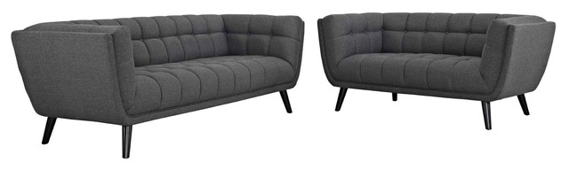 Bestow 2-Piece Upholstered Fabric Sofa And Loveseat Set Gray.