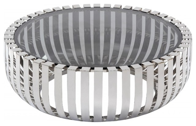 Irving Modern Stainless Steel And Glass Round Coffee Table
