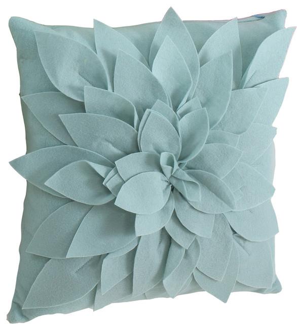 Sara&x27;s Garden Decorative Throw Pillow, Aqua.