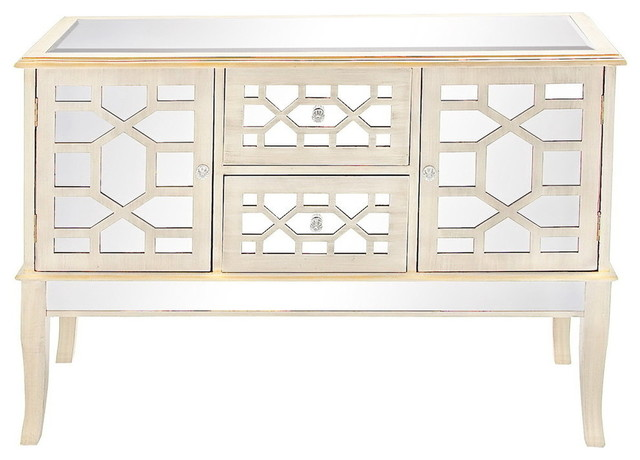 Wood and Mirror Console Cabinet - Modern - Accent Chests And ...