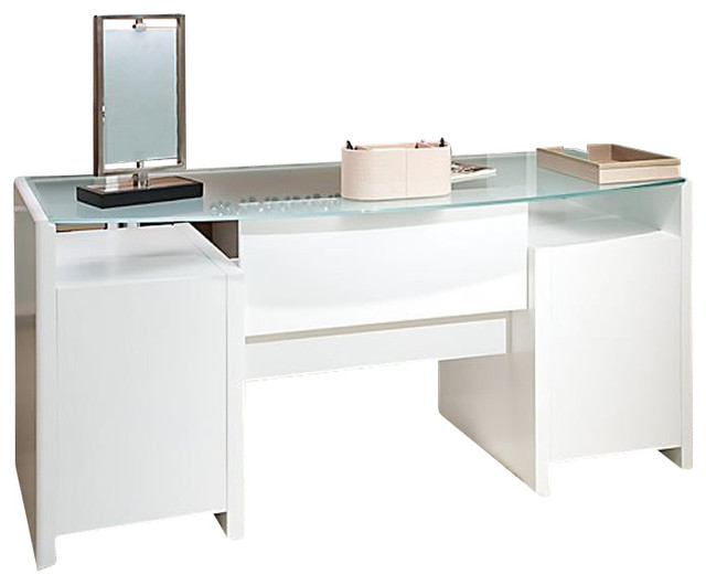 kathy ireland by bush new york skyline bow front desk in plumeria white modern bush desk hutch office
