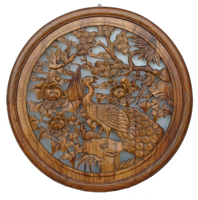 Chinese Wood Carved Round Peacock Wall Decor Asian Decorative Accents