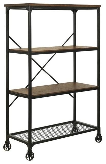 Furniture Of America Ventura Ii 4-Shelf Industrial Bookcase With Casters.