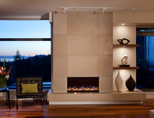 ".Beautiful modern fireplace wraps around on both sides.  Large format tile ( 24 x 36"") that will withstand any heat the fireplace can deliver.  Ultra high"