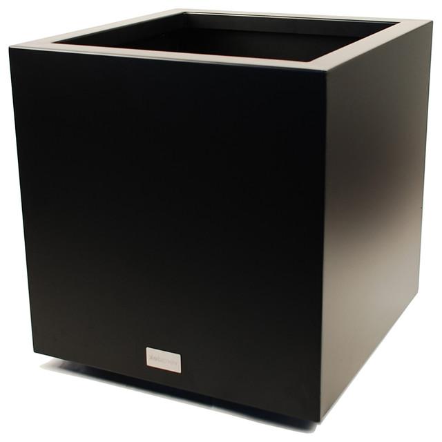 Metallic Series Cube Planter, Black, Medium