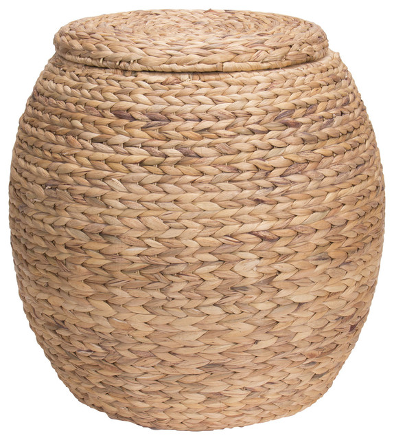 Water Hyacinth Wicker Storage Basket, Natural