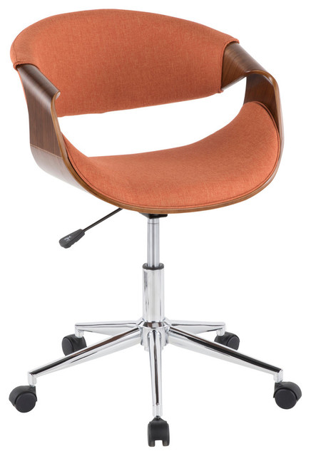 Lumisource Curvo Office Chair, Walnut Wood and Orange