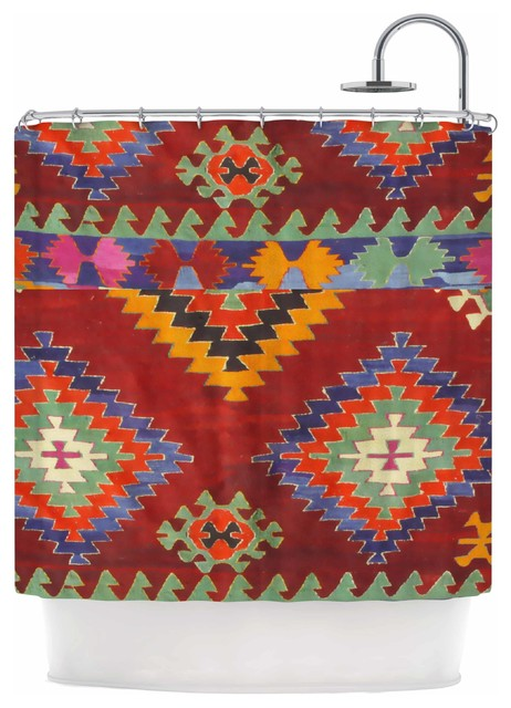 S Seema Z Tapestry Ethnic Red Pattern Shower Curtain
