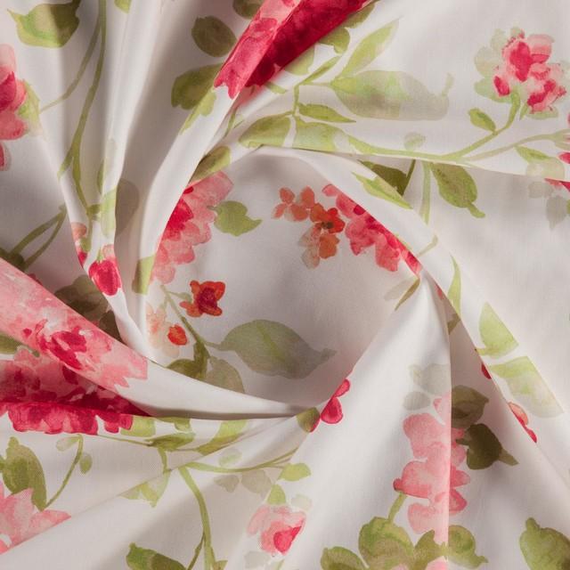 Bronte 003 Printed Floral Curtain Fabric Pink 1 Metre