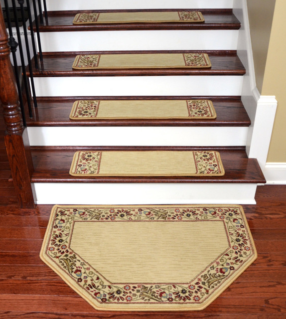 Tape Free Carpet Stair Treads, Talas Floral Beige With Mat, Set Of 15.