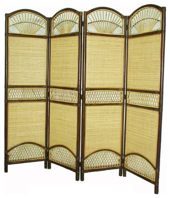 D Art Collection Home Decorative Rattan Tropical 4 Panel Screen Divider